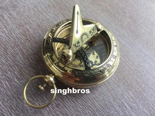 Nautical Brass Push Button Compass Marine Antique Brass Pocket Sundial Compass 4