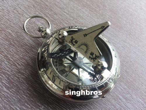 Nautical Push Button Compass Maritime Vintage Pocket Compass Nautical with Chain 2