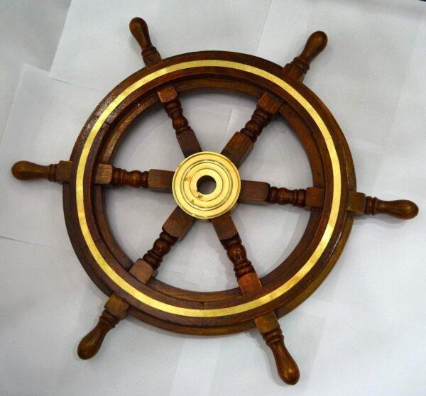 Nautical Brown Wooden Brass Maritime wall Ship Wheel
