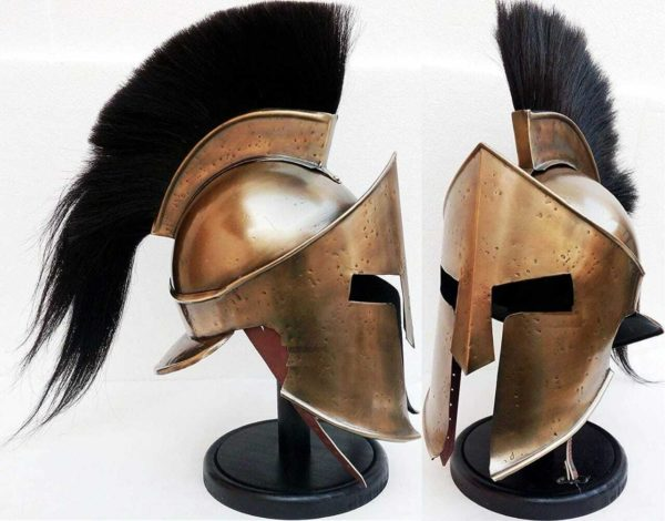 300 Antique Helmet Armor Brass Antique With Black Plume Gift