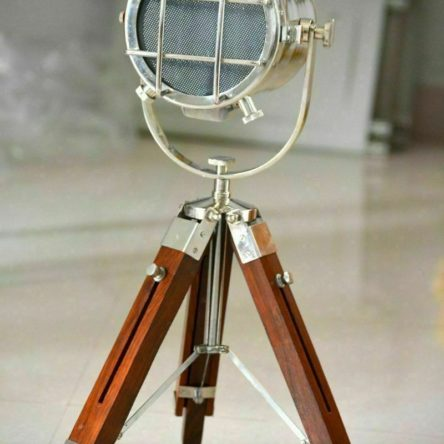 Table Lamp Nautical Search Light With Brown Tripod Stand Home Decor