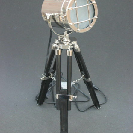 LED Nautical Searchlight Table Lamp Black Tripod Marine Theme Vintage