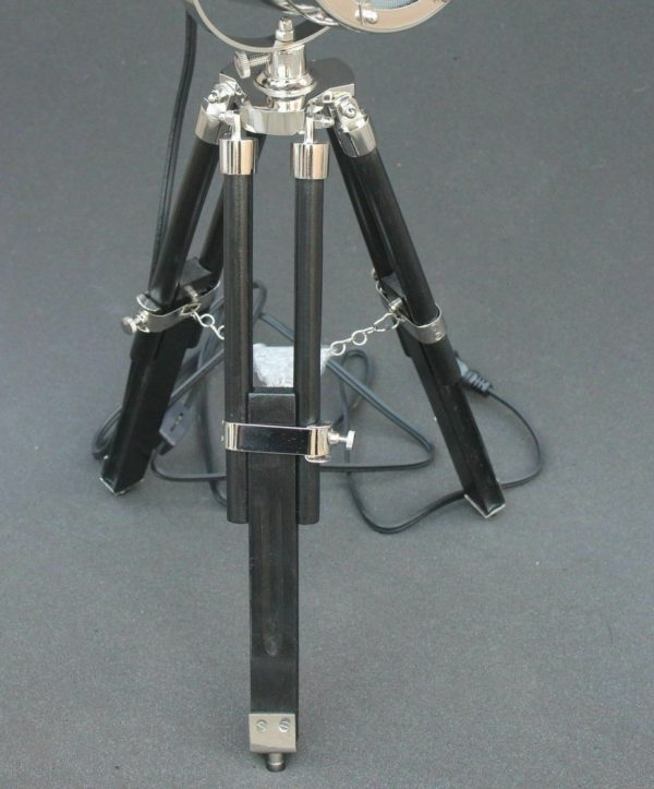 LED Nautical Searchlight Table Lamp Black Tripod Marine Theme Vintage 2