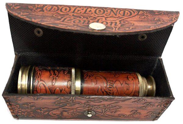 Vintage Brass Telescope Maritime London Nautical Spyglass with Leather Free 5