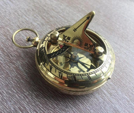 Antique Brass Push Button Compass Marine Pocket Sundial Compass