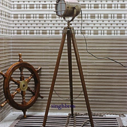 Nautical Floor Lamp Searchlight Unique Spotlight With Wooden Tripod Home Decor