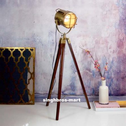 Nautical Antique Floor Lamp Spotlight  Wooden Tripod Home & office Decor