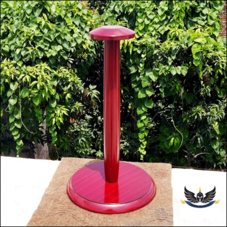 Medieval Wooden Armour Helmet Stand Red Colour