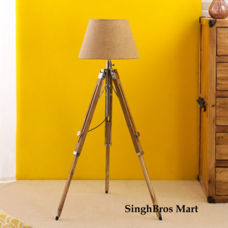 Nautical Floor Lamp Wooden Tripod Lighting Stand Shade Fixture Home Decorative